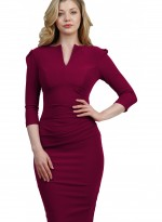 lydia-three-quarter-sleeved-cerise red